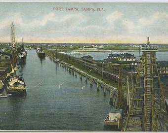 Port Tampa Harbor Ships Tampa Florida 1908 postcard