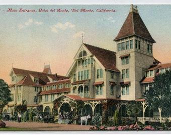 Hotel Del Monte Main Entrance Del Monte California 1910c postcard