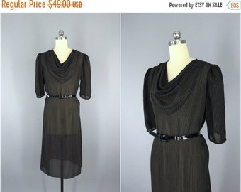 SALE 50% OFF - Vintage Day Dress / Black Chiffon / Belted Sheer Pin Striped / Cowl Neck / 1980s 80s / Size Medium Large M L