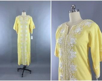 Vintage 1960s Caftan Dress / 60s Kaftan Maxi Dress / Embroidered Bohemian Festival Loungewear / Tesoro's Pastel Yellow