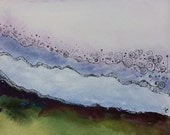 Original Watercolor and Pen on Paper small format art green lavender blue sky hill moor SFA painting free shipping US