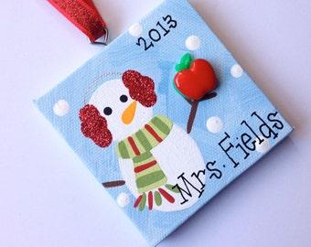 Snow teacher canvas ornament