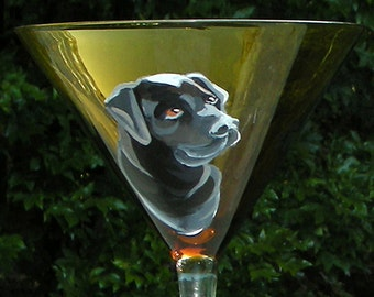 Black Lab Martini ~ Hand Painted Dog Glass ~ Dad Gift ~ Lab Owner Gift ~ Labrador Retriever ~ March Birthday