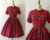 1950s Vintage Dress - 50s Red Fall Plaid Cotton Shirtwaist Dress