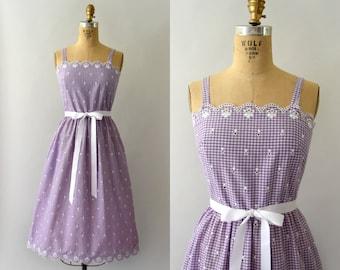 1970s Vintage Dress - 70s Lanz Embroidered Lavendar Gingham Sundress