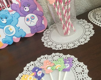 Care Bears Personalized Banner/ cake topper/ paper straws/ cupcake toppers/ center piece/ welcome sign/ and more.