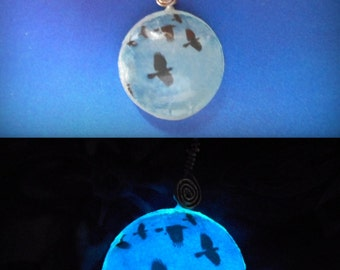 Glow-in-the-Dark Necklace or Keychain Flock of Crows, Blue Moon, Natural Moon