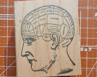 Steampunk Phrenology Rubber Stamp