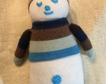 Cashmere Plush toy snowman , upcycled kids toy children's pillows kids room decor, nursery decor kids pillows baby bedding Organic material