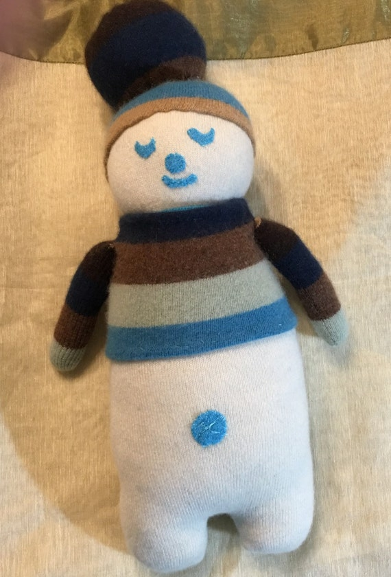 Cashmere Plush toy snowman upcycled kids toy children's