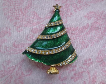 Beautiful vintage holiday Eisenberg Ice  gold tone rhinestone enamel tree design brooch pin. 1 brooch pin.