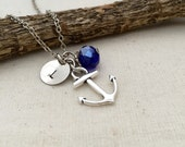 Anchor Necklace, Initial Necklace, Hand stamped Necklace, Best friend Gift, Handmade Jewelry, Bridesmaid Gift, Friendship Necklace