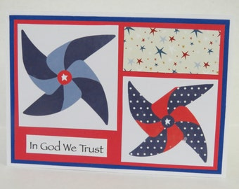 In God We Trust Patriotic Christian Card With Pinwheels And Scripture