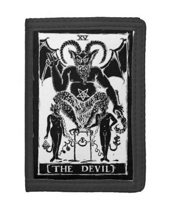The Devil Tarot trifold wallet black