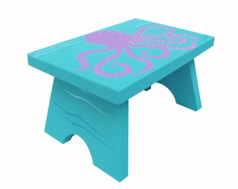 Small Step Stool - Custom Hand Painted Children's Bench Seat Ocean Octopus or Any Kids Theme