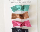 leather knot bow clips set of 4
