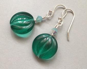 Green Glass Earrings, Czech Glass, Sterling Silver, Emerald Green, Modern Jewelry, Aqua, Teal Earrings