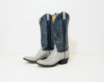 Vintage Tony Lama Womens Navy Blue and Gray Leather Cowgirl Boots Size 7.5