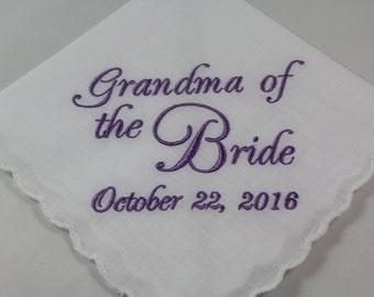 Grandma of the Bride - Embroidered Handkerchief - Wedding Gift - Simply Sweet Hankies