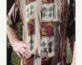 VALENTINES SALE SALE - Men's Handmade Sari Silk Short Sleeve Button Down Dress Shirt - Slight Seconds - Red Tan Southwestern Print - Guiller