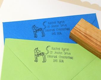 Cute Cat Return Address Olive Wood Stamp