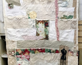 Beautiful, feminine, handmade, fabric wall hanging with lots of texture, soft color, sort of gypsy and bohemian  in style. Window cover.