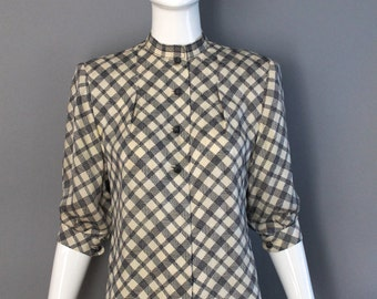 1970s JAMES GALANOS navy white silk check print button front tailored blouse top high waisted vintage 70s