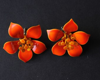 Vintage Orange Enamel Flower Clip-On Earrings