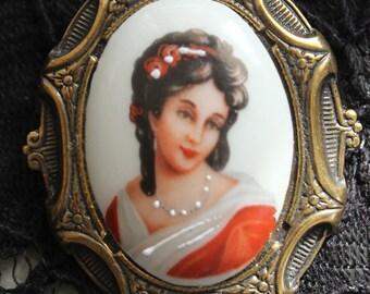 Porcelain Limoges Painted Lady Cameo Portrait Pin