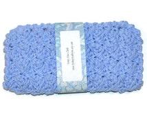 Fancy Face Cloth,  Periwinkle Blue,  Spa Washcloth, Crocheted Wash Cloth, Spa Facewasher