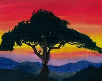 Blue Ridge Mountains, Old Rag Mountain, mountain sunset, scenic Virginia, Skyline Drive,traditional landscape,Flame Bilyue