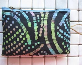 line and dot print batik fabric padded makeup jewelry bag