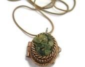 Vintage Locket, PERI Chipped Green Stones locket, Locket Necklace,hidden treasures jewelry,green Locket Jewelry, Mod Vintage