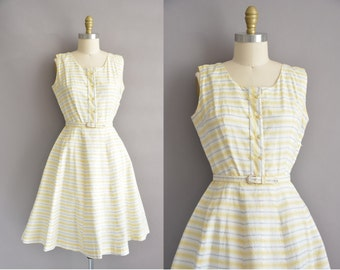 Ann Taylor 50s yellow and gray cotton vintage dress / vintage 1950s dress