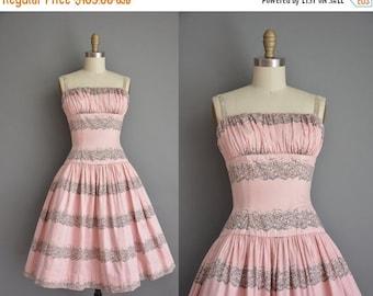 Anniversary SHOP SALE... 1950s dress/vintage 50s dress/ pink floral bombshell sun dress