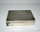 "Small Silver Plated Cedar Lined Box 4-3/4"" long x 3-1/2"" wide with Basket Weave Art Deco Design."