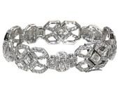 Valentines Sales French Art Deco bracelet 1920 platinum set 5.35ct diamonds