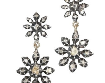 Victorian star shaped earrings with rose cut diamonds foil set in gold backed silver