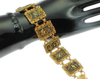 High quality antique gold link bracelet birds nature damascene zougan shakudo 18k gold silver Japanese scenery