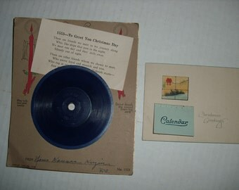 D)  Two Vintage/Antique Christmas Cards.  1923 Calendar Card and a Rare GREETAPHONE card wtih Record.