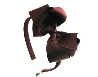 Girls Dark Maroon Hair Bow Headband, School Uniform Bow Headband