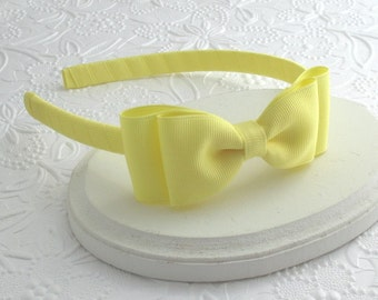 Yellow Bow Headband, Girls Headband, Yellow Bow on Hard Headband, Bow Headband, Toddler Headband, Headbands for Girls