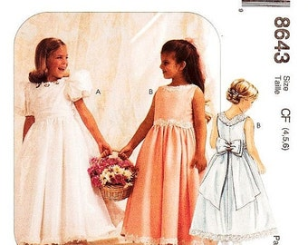 ON SALE Sz 4/5/6 - Girls'/Toddler Dress Pattern McCall's 8643 -  Girls' Dress and Petticoat - Special Moments