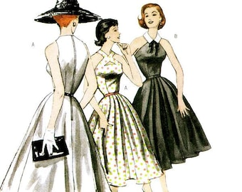 Sz 6/8/10/12 - Misses' Fit and Flare Day Dress with Cut-Away Shoulders in Two Variations - Retro Butterick '52 Dress Pattern B5033