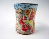Ceramic Chicken Coffee Mug - Pottery Chicken Hen Mug - Majolica Mug - Blue Brown Red Coffee Cup - 15 ounce oz Coffee Mug - Poultry Farm Cup