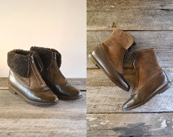 Sheepskin Boots Size 6   //  Suede Fur Boots Sz 36.5  //  LA CANADIENNE