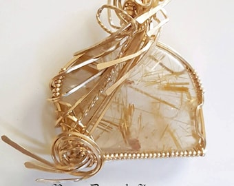 Rutilated Gold Quartz Gold Filled Wire Wrap Pendant - High Quality