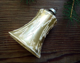 Vintage Glass Christmas Tree Ornament - Bell Ornament - Gold with White Mica - made in Austria