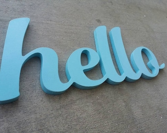 Hello, Wood Letters, Connected Wooden Sign, Robins Egg Blue, Welcome, Entryway, Fun Wall Art, Housewarming Gift, Dorm Room Decor, Kitchen