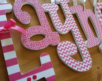 Baby Name Sign, Hot Pink Wooden Letters for Baby Girl Nursery Decor, Wall Hanging Word Art, Chevron, Stripes and Dots